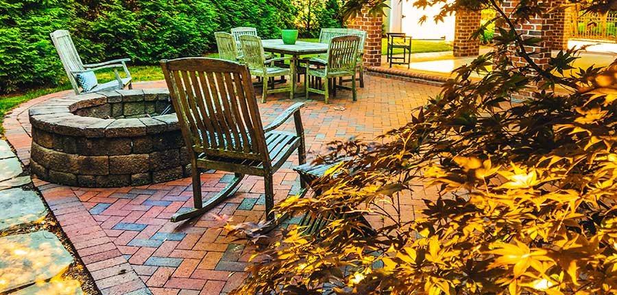 Pathway Full Range 4x8 patio with firepit and teak table