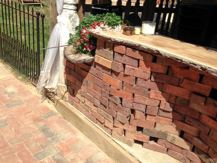 Reclaimed brick and new pavers