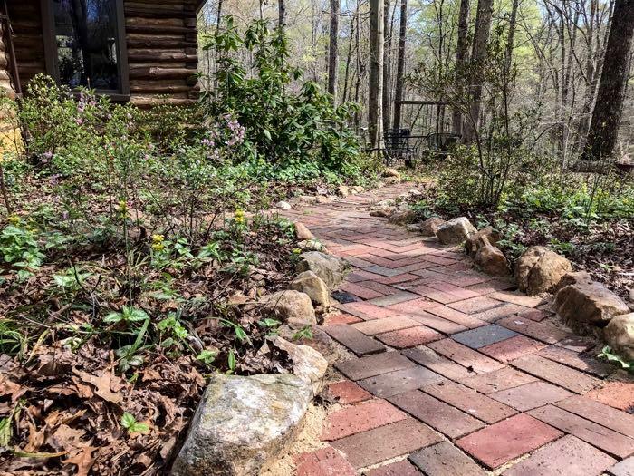 Winding paver pathway
