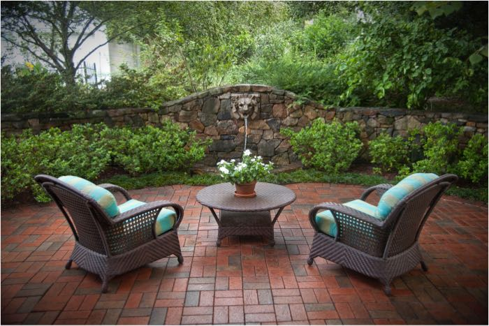 fountain in outdoor living space
